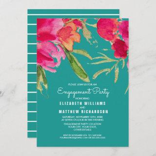 Turquoise | Fuchsia Floral Engagement Party Invitation