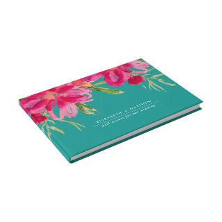 Turquoise | Fuchsia Floral Watercolor Wedding Guest Book