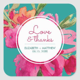 Turquoise | Fuchsia Floral Wedding Favor Square Sticker