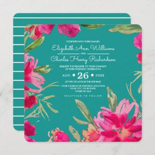 Turquoise | Fuchsia Romantic Floral Wedding Invitations