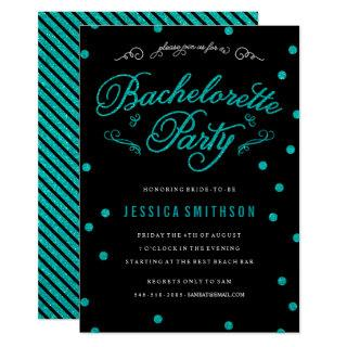 Turquoise Glitz & Glitter Black Bachelorette Party Invitations