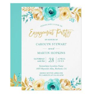 Turquoise Gold Floral Romance Engagement Party Invitations