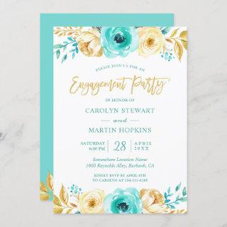 Turquoise Gold Floral Romance Engagement Party Invitation