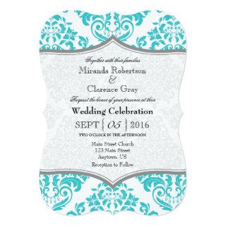 Turquoise Gray Damask Bracket Wedding Invite