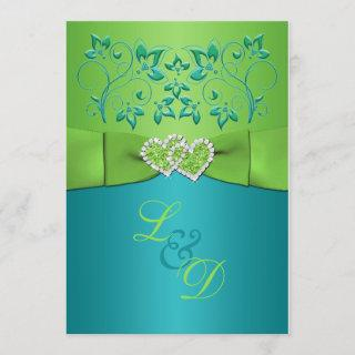 Turquoise, Lime Floral Joined Hearts