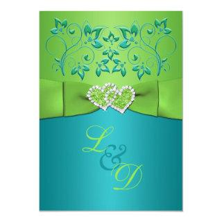 Turquoise, Lime Floral Joined Hearts Invitation 2