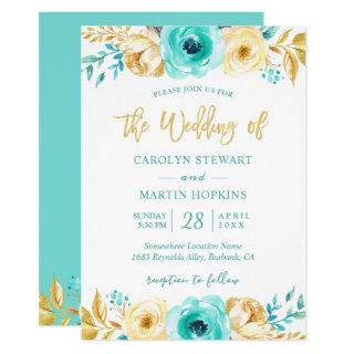 Turquoise Mint Gold Floral Romantic Chic Wedding Invitations