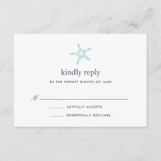 Turquoise & Navy Starfish RSVP Card