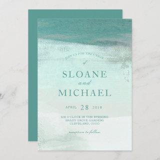 Turquoise Ombre Watercolor Wash Beach Wedding