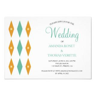 Turquoise Orange Diamond Star Mid Century Wedding Invitations
