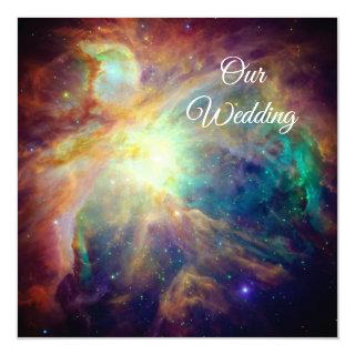 Turquoise Orion Nebula Space Photo Cosmic Wedding Invitations
