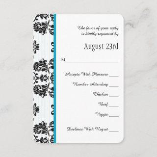Turquoise Parisian Eiffel Tower RSVP Wedding Card