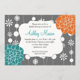 turquoise, pink and Orange Shower Invitations