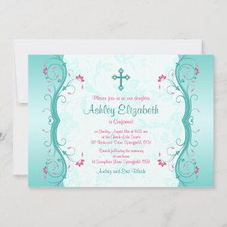 Turquoise Pink Floral Confirmation Invitations