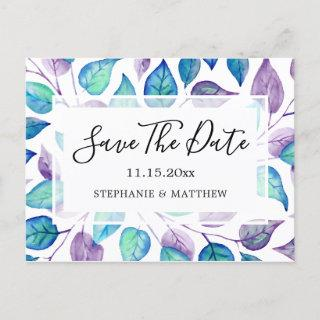 Turquoise Purple Leaves Wedding Save The Date Announcement Postcard