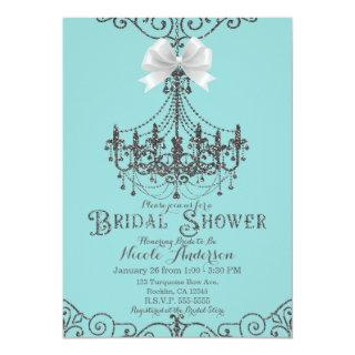 Turquoise & Silver White Bow Bridal Shower Invitations