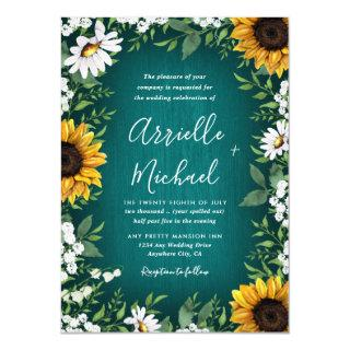 Turquoise Sunflower Rustic Wedding Invitations