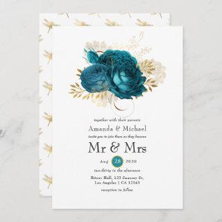 Turquoise - Teal and Gold Floral Wedding