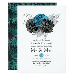 Turquoise - Teal Black and Silver Floral Wedding Invitations