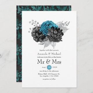 Turquoise - Teal Black and Silver Floral Wedding