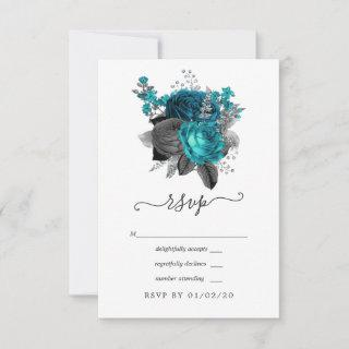 Turquoise - Teal Black and Silver Floral Wedding RSVP Card