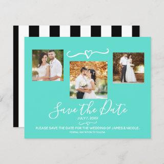 Turquoise Teal & Black Stripes Photo Save the Date