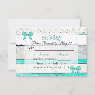 Turquoise Teal Gray Rustic Wood Wedding RSVP card