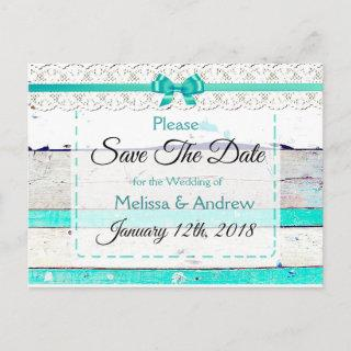 Turquoise Teal Gray Wood Save the Date Postcard
