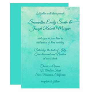 Turquoise Watercolor Ombre Calligraphy Wedding Invitation