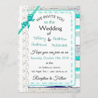 Turquoise Weathered Wood Rustic Lace Invitations