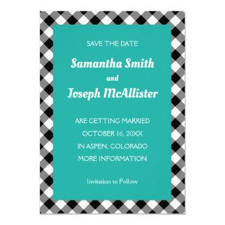 Turquoise White Black Buffalo Plaid Save the Date Invitation