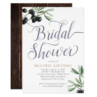 Tuscan Bridal Shower Italian Olive Branch Rustic Invitation
