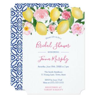 Tuscan Lemons Pink Watercolor Floral Bridal Shower Invitations