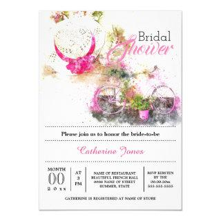 Tuscan summer french floral hat bridal shower Invitations