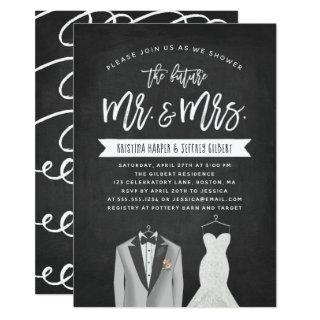 Tux and Dress Couples Wedding Shower Invitations
