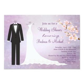 Tux & Gown, cherry blossom Couple's Bridal Shower Invitations