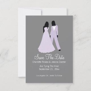 Two Brides Save The Date Wedding (Lilac And Grey)