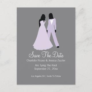 Two Brides Suit And Wedding Dress (Lilac Grey) Announcement Postcard