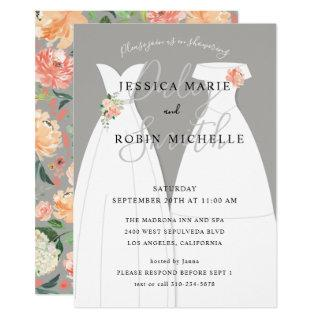 Two Brides Wedding Dress Lesbians Couples Shower Invitations