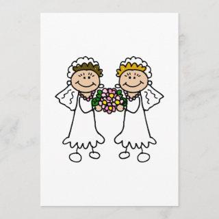 Two Brides with Flowers Invitation
