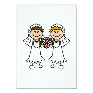 Two Brides with Flowers Invitations