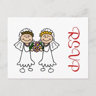 Two Brides with Flowers  Postcard