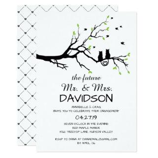 Two Cats In A Tree Engagement Party Invitations