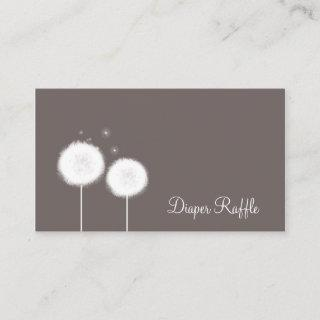 Two Dandelions Taupe Rustic Diaper Raffle Cards