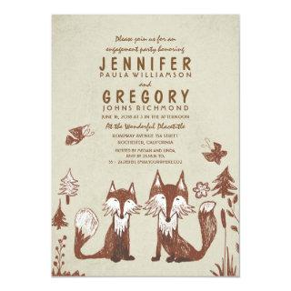 Two Foxes Woodland Engagement Party Invitations