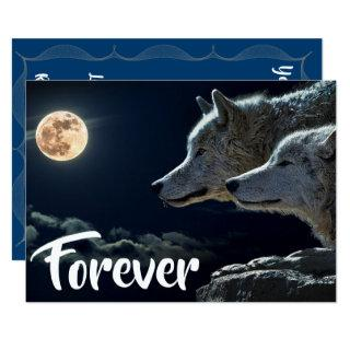 Two Grey Wolves & Full Moon Wedding Invitation