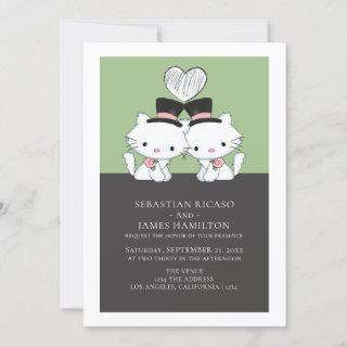Two Grooms Cat Themed Gay Wedding Announcement