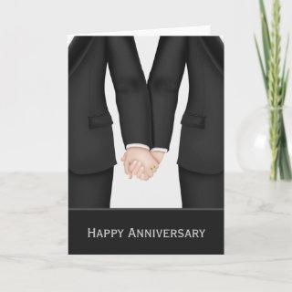 Two Grooms In Suits Wedding Anniversary Card