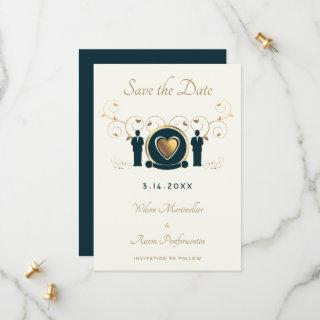 Two Grooms Male Wedding Cream Brown Blue LGBTQ Save The Date