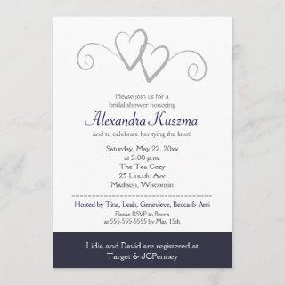 Two Hearts Navy & Silver Bridal Shower Invitations